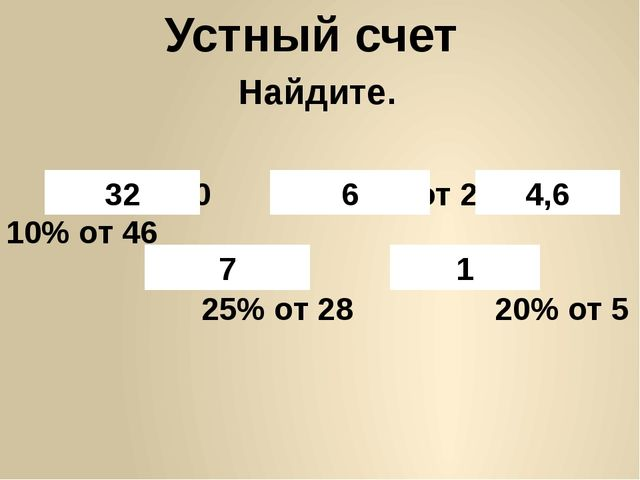 Устный счет 8% от400 30% от 20 10% от 46 25% от 28 20% от 5 32 6 4,6 7 1 Найд...
