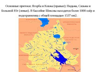 Основные притоки: Ягорба и Ковжа (правые); Пидьма, Сизьма и Большой Юг (левые