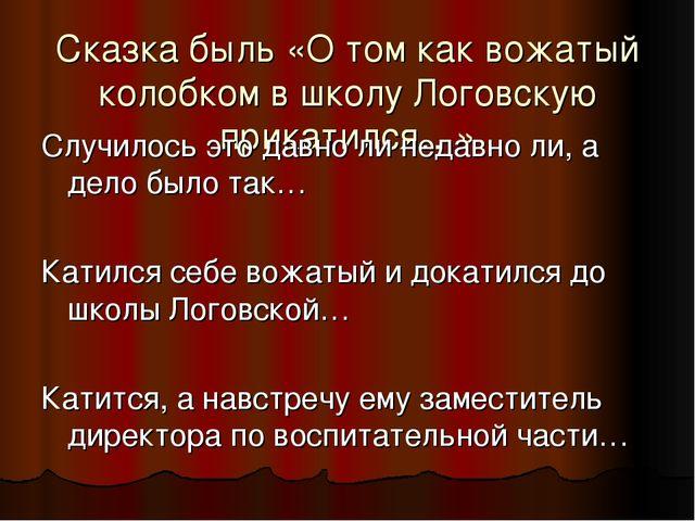 Сказка быль «О том как вожатый колобком в школу Логовскую прикатился…» Случил...