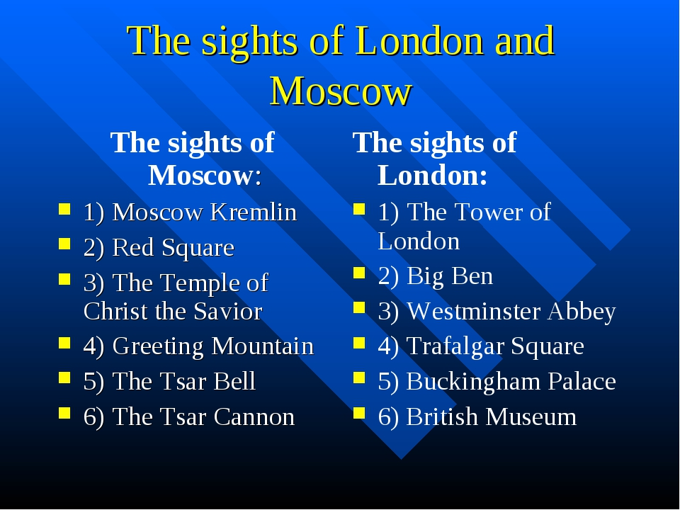 The sights of London and Moscow The sights of Moscow: 1) Moscow Kremlin 2) Re...