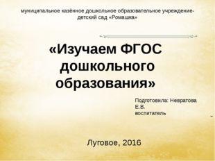 «Изучаем ФГОС дошкольного образования» Луговое, 2016 муниципальное казённое д