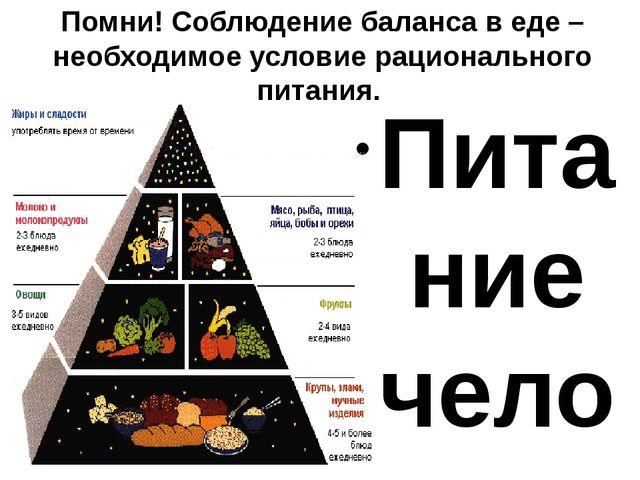 Помни! Соблюдение баланса в еде – необходимое условие рационального питания....