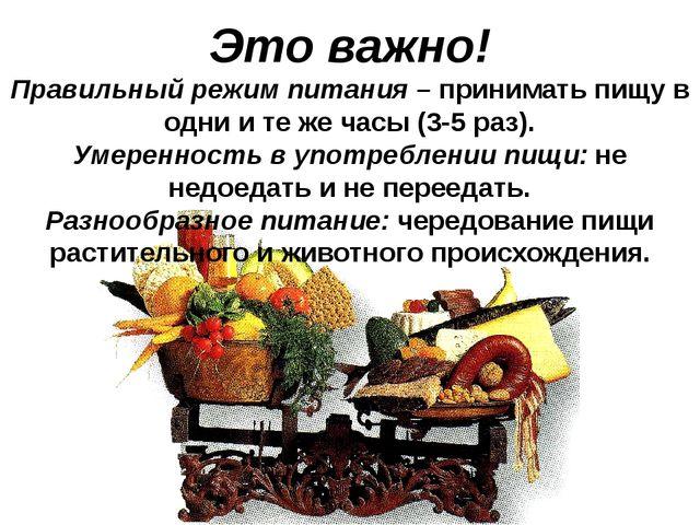 Это важно! Правильный режим питания – принимать пищу в одни и те же часы (3-5...