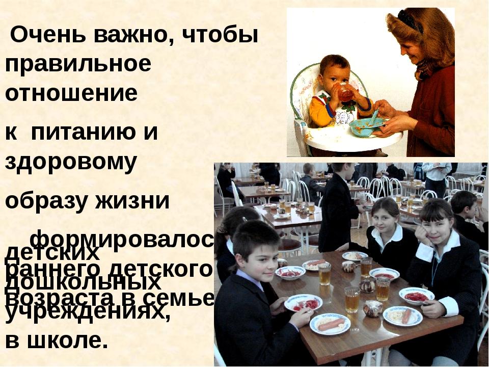 Очень важно, чтобы правильное отношение к питанию и здоровому образу жизни...