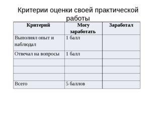 Критерии оценки своей практической работы Критерий Могу заработать Заработал