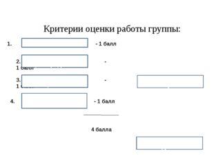 Критерии оценки работы группы: 1. - 1 балл 2. - 1 балл 3. - 1 балл Работали