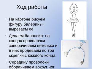 Ход работы На картоне рисуем фигуру балерины, вырезаем её Делаем балансир: на
