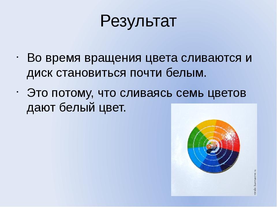 Результат Во время вращения цвета сливаются и диск становиться почти белым. Э...