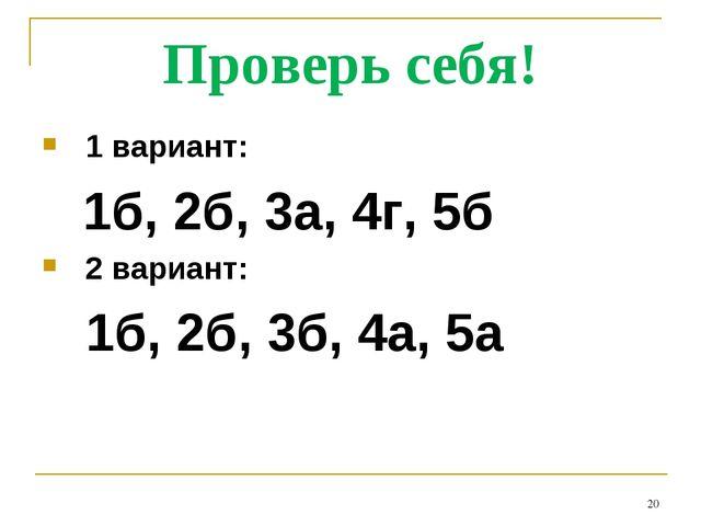 Проверь себя! 1 вариант: 1б, 2б, 3а, 4г, 5б 2 вариант: 1б, 2б, 3б, 4а, 5а *