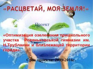 Проект «Оптимизация озеленения пришкольного участка Ровеньковськой гимназии и