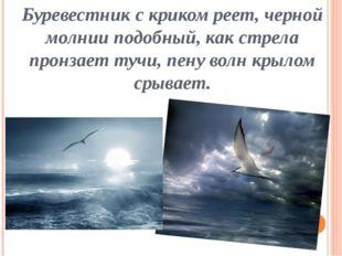 Буревестник с криком реет, черной молнии подобный, как стрела пронзает тучи,