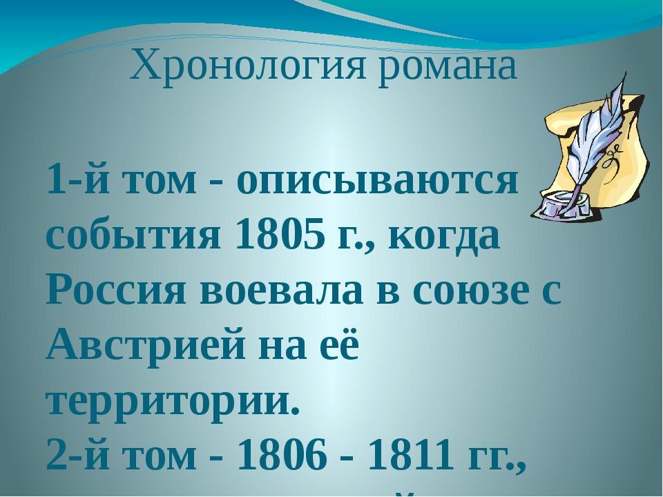 Хронология романа 1-й том - описываются события 1805 г., когда Россия воевала...