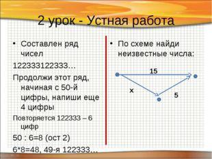 2 урок - Устная работа Составлен ряд чисел 122333122333… Продолжи этот ряд, н