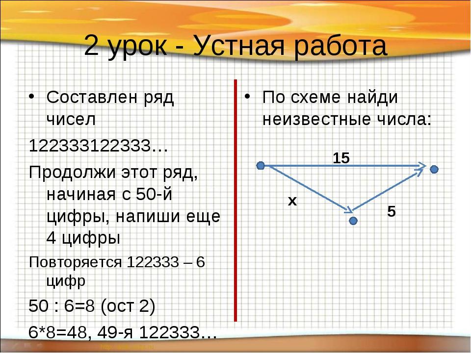 2 урок - Устная работа Составлен ряд чисел 122333122333… Продолжи этот ряд, н...