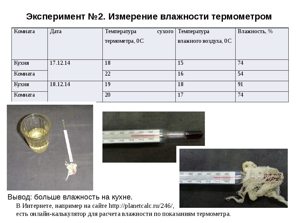 Эксперимент №2. Измерение влажности термометром Вывод: больше влажность на ку...