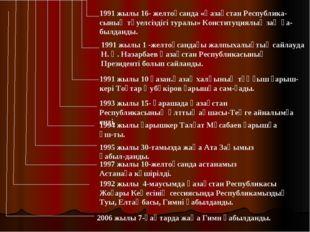 1991 жылы 16- желтоқсанда «Қазақстан Республика-сының тәуелсіздігі туралы» Ко