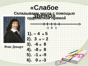 «Слабое звено» Складываем числа с помощью координатной прямой Рене Декарт 1).
