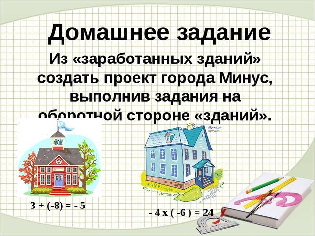Домашнее задание Из «заработанных зданий» создать проект города Минус, выполн...
