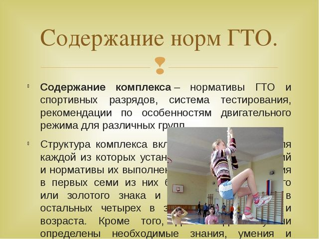 Содержание комплекса– нормативы ГТО и спортивных разрядов, система тестирова...