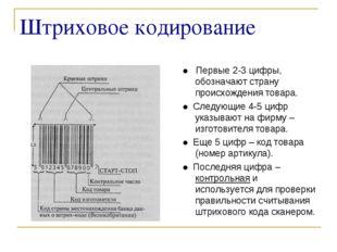 Штриховое кодирование ● Первые 2-3 цифры, обозначают страну происхождения тов