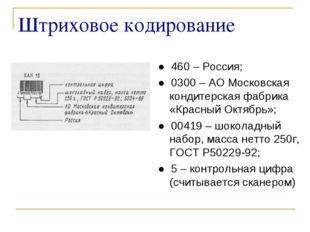 Штриховое кодирование ● 460 – Россия; ● 0300 – АО Московская кондитерская фаб