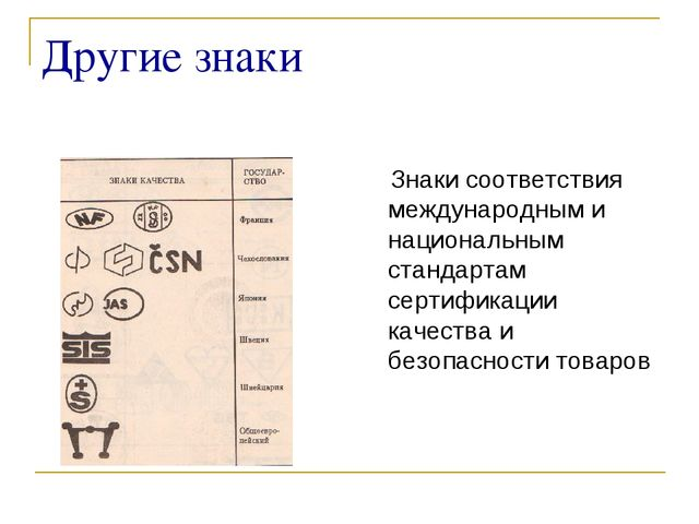 Другие знаки Знаки соответствия международным и национальным стандартам серти...