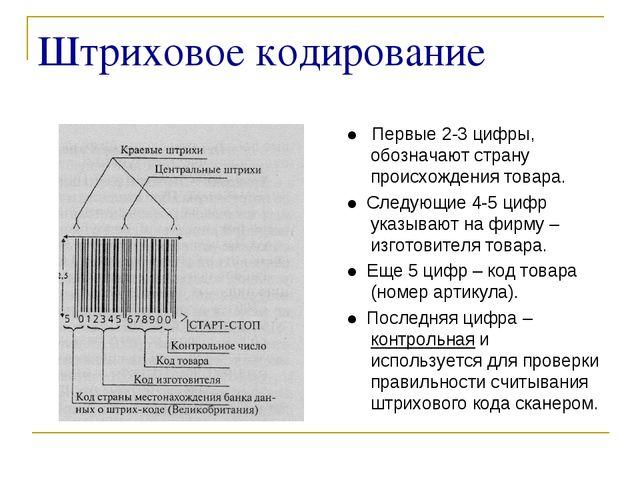 Штриховое кодирование ● Первые 2-3 цифры, обозначают страну происхождения тов...