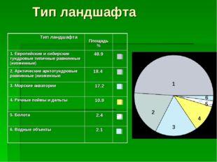Тип ландшафта 1 2 3 4 5 6 Тип ландшафта Площадь % 1. Европейские и сибирск