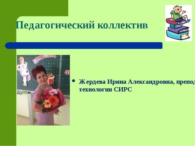 Педагогический коллектив Жердева Ирина Александровна, преподаватель технолог...