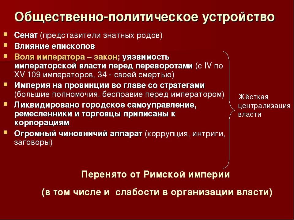 Общественно-политическое устройство Сенат (представители знатных родов) Влиян...