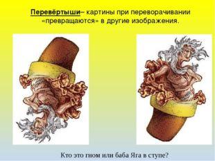 Перевёртыши– картины при переворачивании «превращаются» в другие изображения.