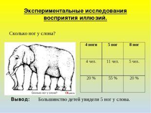 Экспериментальные исследования восприятия иллюзий. Сколько ног у слона? Вывод