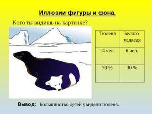 Иллюзии фигуры и фона. Вывод: Большинство детей увидели тюленя. Кого ты видиш