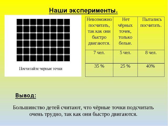 Большинство детей считают, что чёрные точки подсчитать очень трудно, так как...