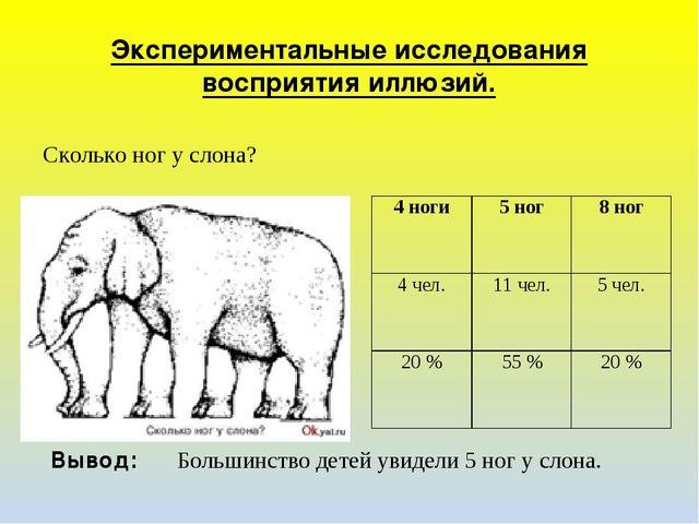 Экспериментальные исследования восприятия иллюзий. Сколько ног у слона? Вывод...