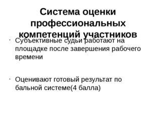 Система оценки профессиональных компетенций участников Субъективные судьи раб