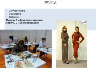 2013год 13 участников 3 эксперта Задание Модуль 1 «Домашнее задание» Модуль