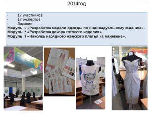 2014год 17 участников 17 экспертов Задание Модуль 1 «Разработка модели одежд