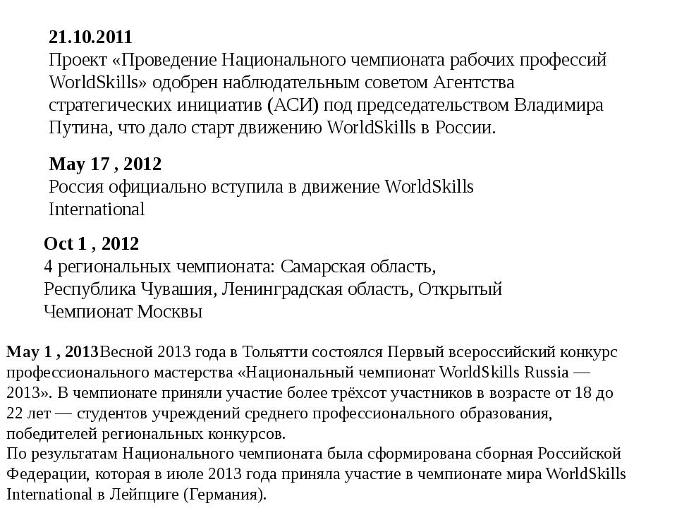 Oct 1 , 2012 4 региональных чемпионата: Самарская область, Республика Чувашия...