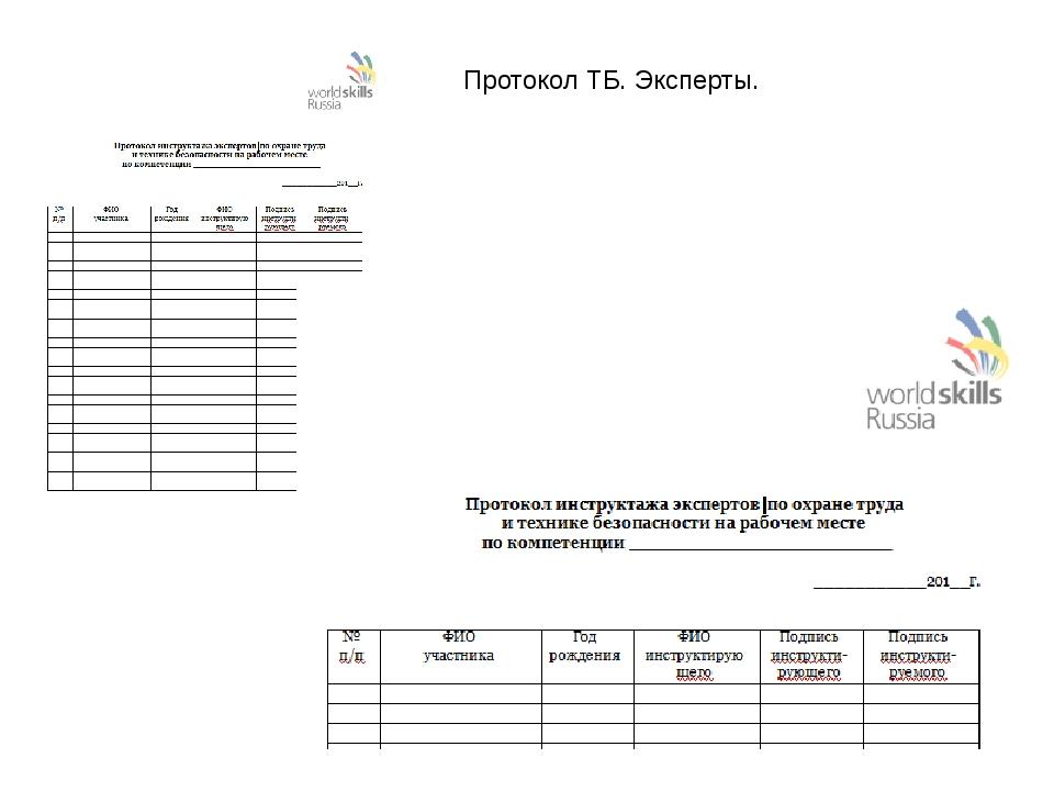 Протокол ТБ. Эксперты.