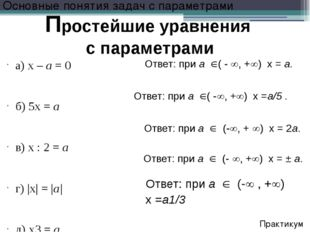 a)x –а= 0 б) 5x =а в) x : 2 =а г) |x| = |а| д) x3=а Основные поняти