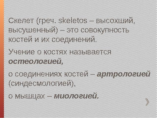 Скелет (греч. skeletos – высохший, высушенный) – это совокупность костей и их...