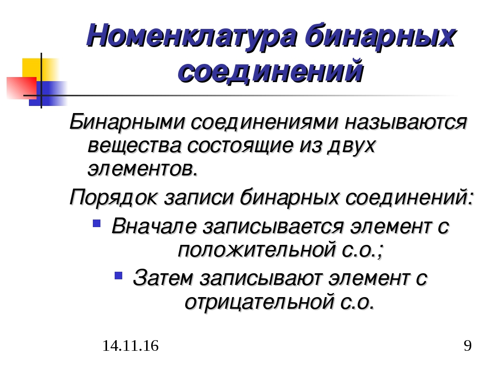Номенклатура бинарных соединений Бинарными соединениями называются вещества с...
