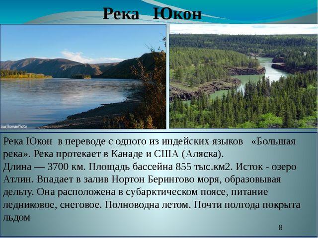 Река Юкон Река Юкон в переводе с одного из индейских языков «Большая река». Р...