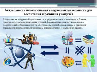 Актуальность внеурочной деятельности определяется тем, что сегодня в России п