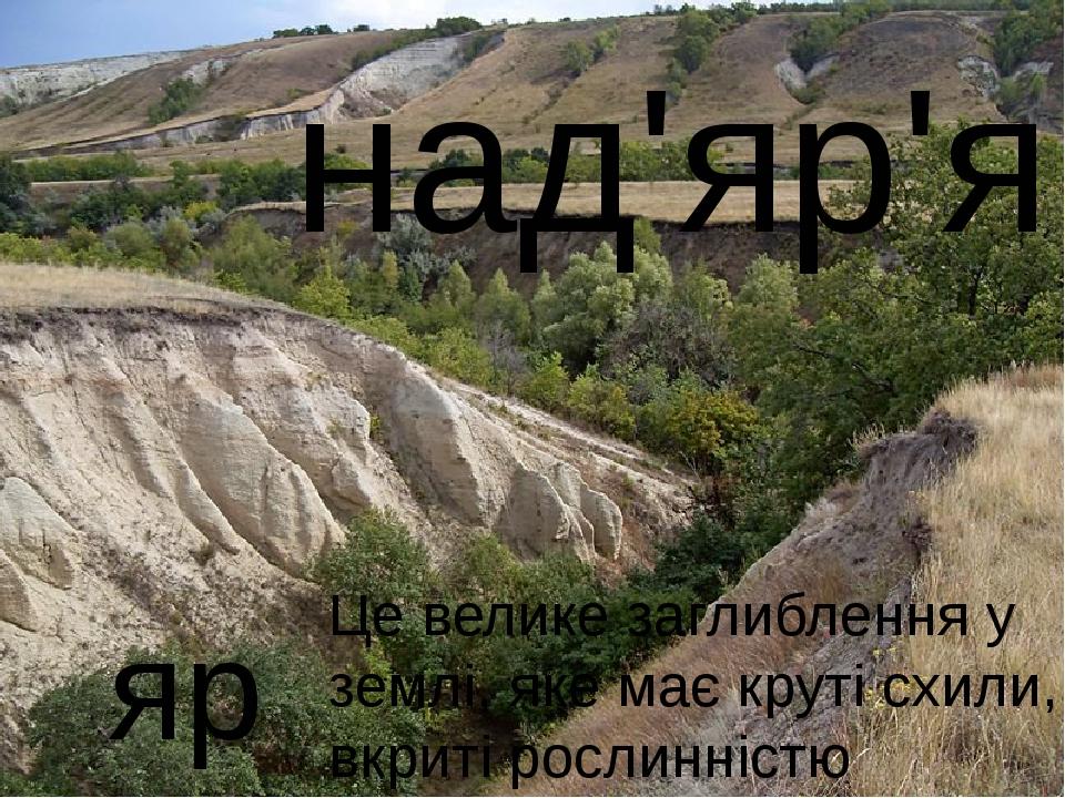 яр над'яр'я Це велике заглиблення у землі, яке має круті схили, вкриті росли...