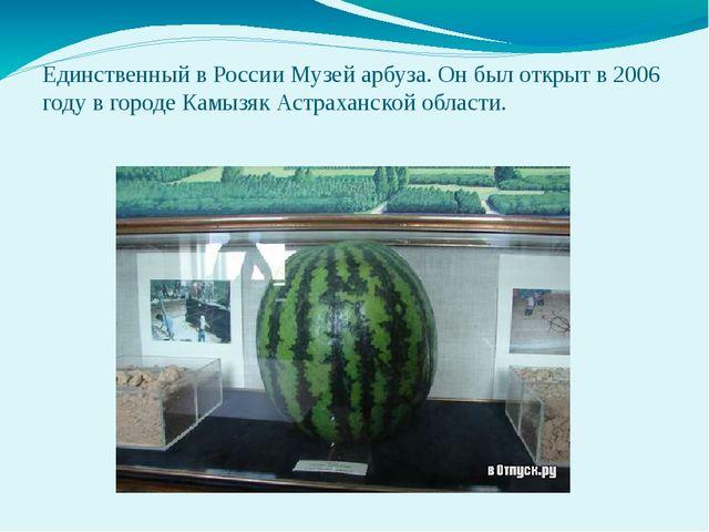 Единственный в России Музей арбуза. Он был открыт в 2006 году в городе Камызя...