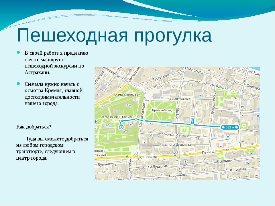 Пешеходная прогулка В своей работе я предлагаю начать маршрут с пешеходной эк...