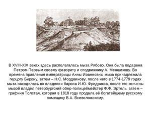 В XVIII-XIX веках здесь располагалась мыза Рябово. Она была подарена Петром П