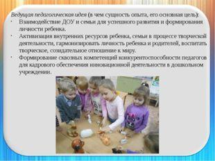 Ведущая педагогическая идея (в чем сущность опыта, его основная цель): Взаимо